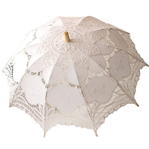 White Wedding Lace Parasol Umbrella Victorian Handmade Lady Costume Accessory Bridal Party Decoration Photo Props