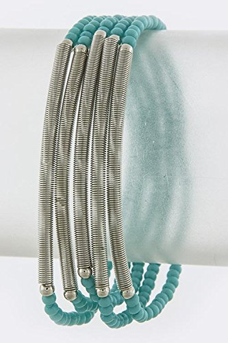 Baubles & Co Spring Ornate Accent Seed Bead Bracelet (Silver/Turquoise)