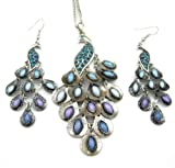 *USA* Vintage Jewlery Retro Peacock Necklace Earrings Set Blue