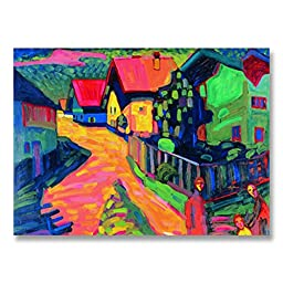 Wassily Kandinsky Murnau Street With Women 1908 Original Landscape Oil Painting Reproduction Hand painted on Rolled Canvas for Living Room Wall Decor - 48X36 inch