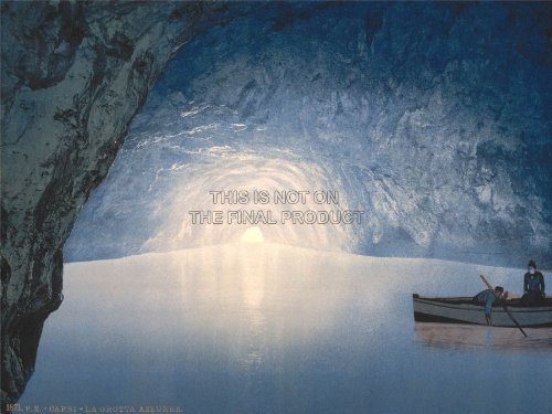 Photo Collage Fishing Blue Grotto Capri Island Italy Art Poster Print 18X24 Inch Lv3508