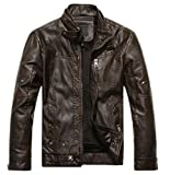 Chouyatou Mens Vintage Stand Collar Pu Leather Jacket