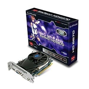 Sapphire 11192-14-20G Graphics Card ATI Radeon HD 6670 1 GB PCI-e GDDR5 Memory 2x DVI HDMI 1 GPU