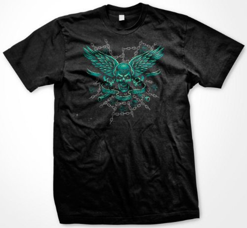 Live And Let Live Skull T-Shirt, Evil Skull Chains Biker Liquid Blue Design (Many Colors), Small, Brown