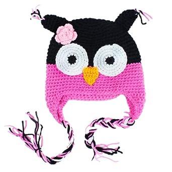 niceeshop(TM) Cute Owls Crochet Knit Wool Toddler Hat With Ear Flap,Black&Roseo