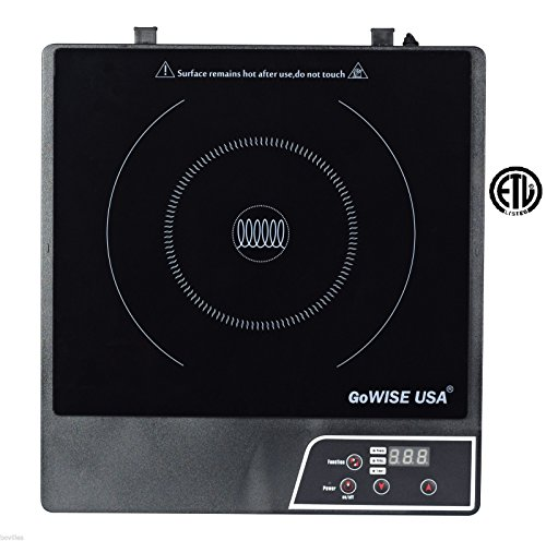 GoWISE USA GW22604 Black Portable Kitchen Electric Induction Glass Cooktop
