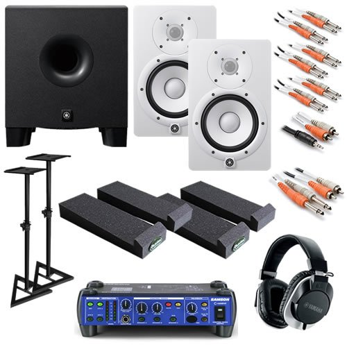 Yamaha Hs7 White Ultimate Bundle W/ Monitor Controller, Subwoofer, Stands, Phones & Cables