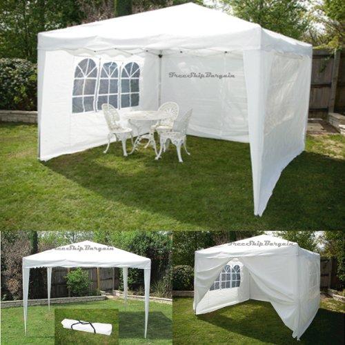 10 X 10 Canopy Gazebo White Ez Pop up Tent Portable 4 Side Walls