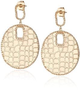 """GALA by Daniela Swaebe """"Crocodile"""" Rose Gold Disc Earrings"""