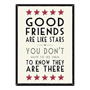 East of India Good Friends Are Like Stars Large Framed Wall Art, Paper/Wood