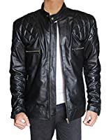 Outfitmakers Mens Biker Style Quilted Leather Jacket Black Large