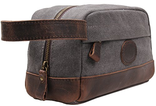MSG-Vintage-Leather-Canvas-Travel-Toiletry-Bag-Shaving-Dopp-Kit-A001-Grey