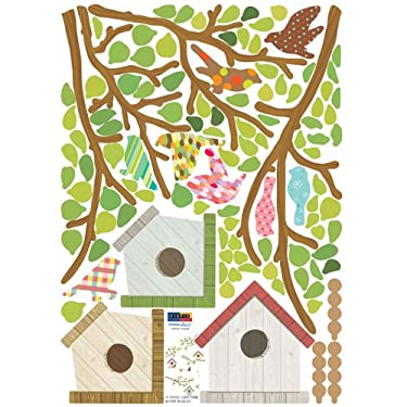 Birdhouses with Multicolor Print Birds - Removable Home Decoration Wall Sticker Decal