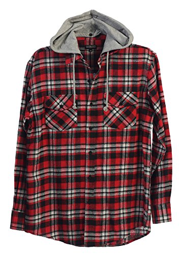 Gioberti Mens Hooded Long Sleeve Plaid Flannel Shirt, Red / Black, Large (Red And Black Hooded Flannel compare prices)