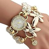 Women's Quartz Wrist Watches, SUPPION Womens Imitation Pearls Flower Luxury Watches