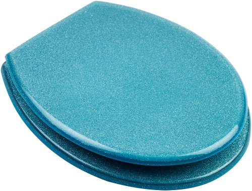 High Quality Hand Finished Turquoise Glitter Design Resin Toilet Seat - Universal Fittings
