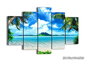 """Canvas Picture - 5 Piece - Total size: Width 59,1""""(150cm), Height 39,4""""(100cm) wall art print - Completely framed - Ready to Hang - multi panel - five 5 Part Panels - photo no. 2528 - EA150x100-2528"""