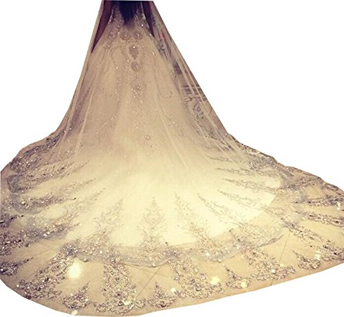 Newdeve 3M 1T Ivory White Wedding Veils with Crystal Free Comb (Ivory)