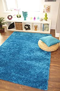Ribbons Teal Blue Modern Soft Yarn Thick Quality Shag Pile Rugs - 4 Small Large Sizes from The Rug House