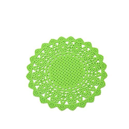 YOKIRIN PVC Untersetzer aus Filz für Tisch und Bar als Glasuntersetzer / Getränkeuntersetzer für Glas und Gläser Tischsets- Grün (Size:Small,Durchmesser:15.5CM)