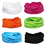 BMC 6pk Solid Colored Multifunctional Seamless Head Bandana Neckwear Scarf Wrap