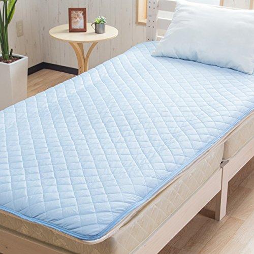 【接触冷感 ひんやり敷きパッド】(シングルサイズ) 100×200cm 熱を発散SoftCool 吸湿速乾 サラフル ブルー色