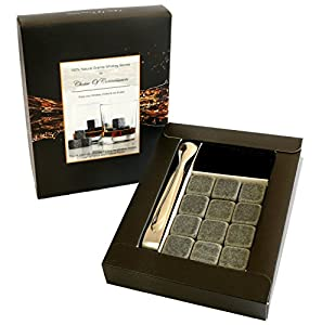 12 Premium Granite Whiskey Lovers Stones - Chill Without Diluting Flavour or Aroma - Natural Reusable Safe Hygienic Ice Cube Alternative - 14 Pce Gift Box Includes 12 Stones Velvet Pouch and Tongs