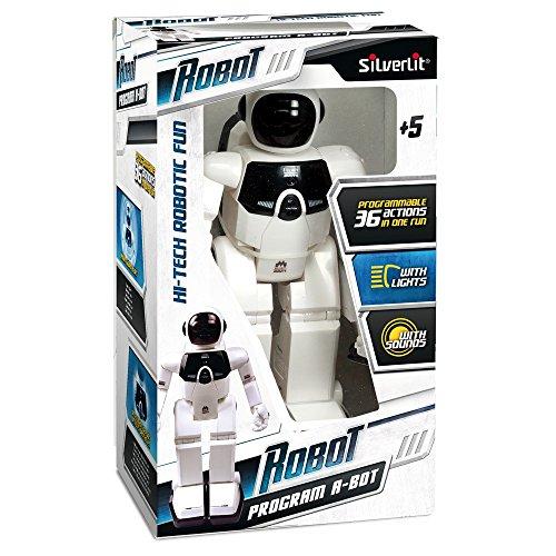 Silverlit - 88.307, Robot Program A-Bot telecomandato, con 36 azioni diverse, effetti sonori e luminosi
