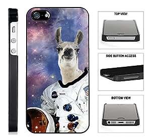 [TeleSkins] - Hipster Astronaut Llama Galaxy - iPhone 5 /5S/SE Black Plastic Case - Ultra Durable Slim & HARD PLASTIC Protective Vibrant Snap On Designer Back Case / Cover. [Fits iPhone SE / 5 / 5S]