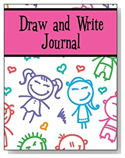 Draw and Write Journal For Girls - Cute stick kids smile back at you from the cover of this draw and write journal for younger girls.