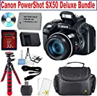 Canon PowerShot SX50 HS 12MP Digital Camera with 2.8-Inch LCD (Black) + 50x Optical IS Zoom + NB-10L Battery Replacement + Camera Case + Red Bendi-Tripod + Memory Card Reader + 32GB Deluxe Bundle