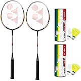 YONEX Badminton Racquet B 6000 (Pair Of 2) With 2 Aero 727 Shuttlecock (Pack Of 12pc)