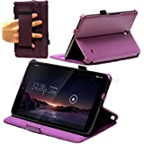 Navitech Purple Bicast Leather Multi Stand Case / Cover With Hand Strap For The Vodafone Smart Tab 4G (Does not fit the WIFI only model)