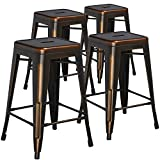 Flash Furniture High Backless Distressed Metal Indoor Counter Height Stool (4 Pack), 24, Copper