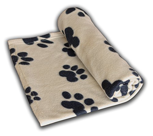 Ultra Light Large 60 x 39 Inches Fleece Blanket Paw Print Pet Dog Cat All Year Round Animal Puppy Kitten Bed Warm Sleep Mat Fabric Indoors Outdoors (Tan)