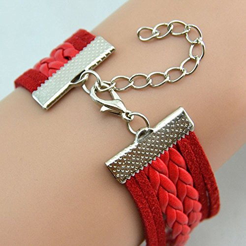 GirlZ! Women's Day Special One Direction multilayer leather Heart bracelet with watch - Red