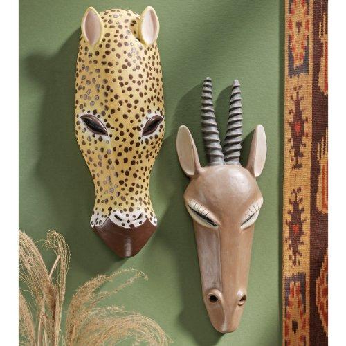 African Serengeti Tribal-Style Animal Wall Mask: Gemsbok and Jaguar