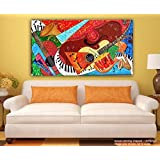 Painting || Paintings || Canvas Painting - Warli Art Fusion - Tirbal Art - Modern Art || Painting For Living Room || Painting For Bedroom (Length 23 Inches X Width 41 Inches)