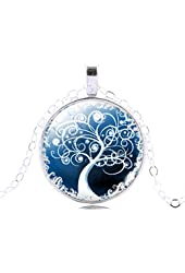 Jiayiqi Charm Silver Tree of Life Pattern Time Gem Pendant Chain Necklace for Women