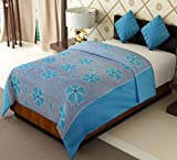 Home Candy Floral Cotton Single Bed Duvet Cover with Zipper - Blue