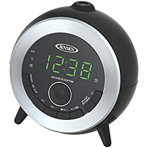 jensen compact am fm dual time projection alarm clock radio with large easy to read. Black Bedroom Furniture Sets. Home Design Ideas