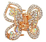 Ice Dragon Gold Rhinestone Hair Pin for Women (butterfly-pin)