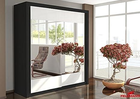 Schwebeturenschrank 110041 Kleiderschrank 2-turig schwarz - weiß / Spiegel 200cm