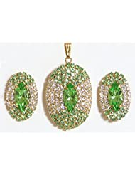 Green And White Stone Studded Round Shaped Pendant And Earrings - Stone And Metal - B00K4F25HC