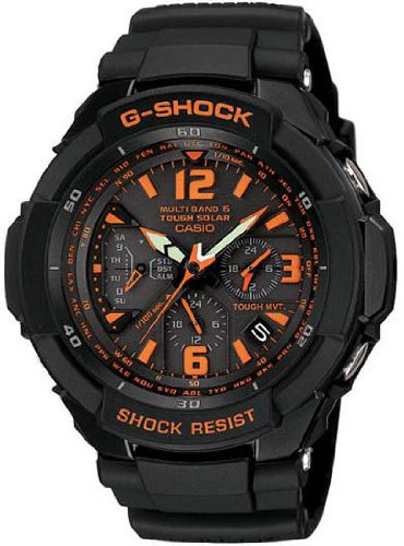 Casio Men&#8217;s GW3000B-1ACR G-Shock Solar Power Black With Orange Dial Watch