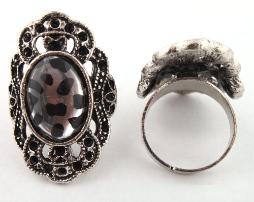 Ladies Silver Antique Round Style with Cheetah Print Oval Center Metal Adjustable Finger Ring