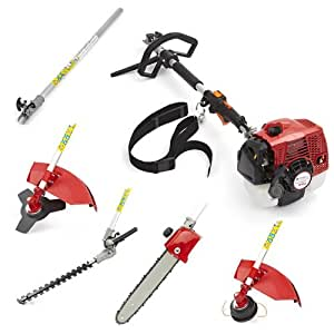 Trueshopping 65cc Petrol Multi Tool Long Reach Multi Function Garden Power Tool Including: Hedge trimmer, Strimmer, Brushcutter, Chainsaw Pruner & Free Extension Pole 2-Stroke 2.8kw 3.7hp
