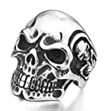 Justeel Men Stainless Steel Rings Band Biker Silver Skull Size Z+5(with Gift Bag) (Width: 1.18