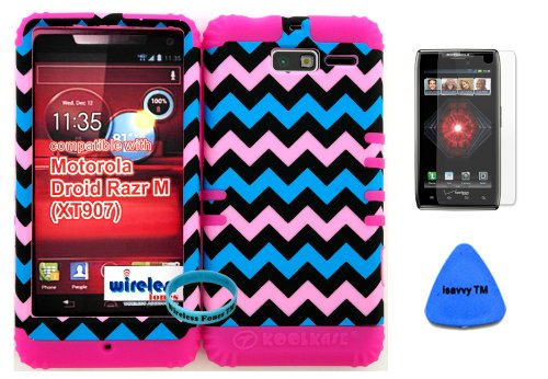 Hybrid Cover Bumper Case For Motorola Droid Razr M (Xt907, 4G Lte, Verizon) Protector Baby Pink, Blue, Black Chevron Pattern Snap On + Pink Silicone (Included Wristband, Screen Protector And Pry Tool By Wirelessfones) front-645590