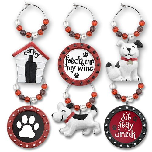 Hand Painted Doggy Wine Glass Charms (Set of 6)
